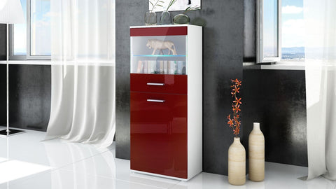 "Open Box - Display Cabinet ""Almada"" in White Matt / Red High Gloss"