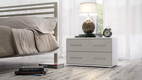 "OPEN BOX - Nightstand ""Kioto"" in White MT / Sandgrey HG"