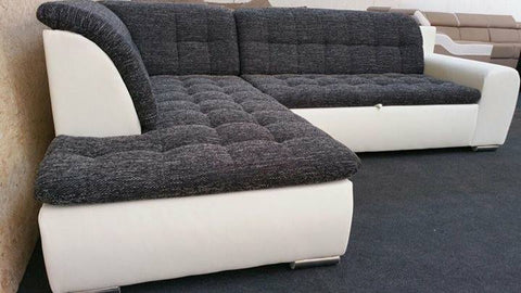"Sectional ""Edard BR"" in White PU Leather / Black Fabric + Bed Function"