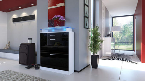 "OPEN BOX - Shoe Cabinet ""Loret"" in White / Black High Gloss"