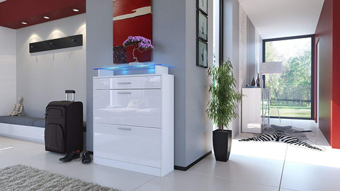 "OPEN BOX - Shoe Cabinet ""Loret"" in White HG / White High Gloss"
