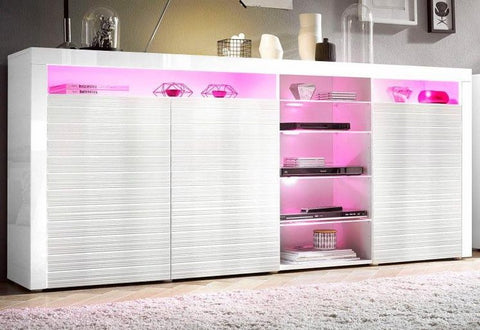 "Highboard ""Odessa "" in White High Gloss / White Ripple High Gloss"