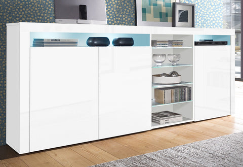 "Highboard ""Santa Fe"" in White High Gloss / White High Gloss"