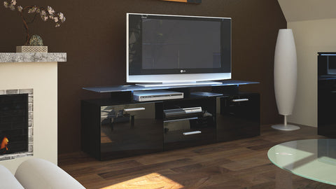 "TV Stand ""Almada"" in Black / Various Color Front"
