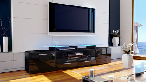 "TV Stand ""Almada V2"" in Black / Various Color Fronts"