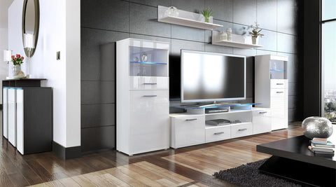 "Wall Unit ""Almada V2"" in White / Various Front Colors"