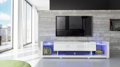 "TV Stand ""Aurora"" - White High Gloss / Various Front Colors"