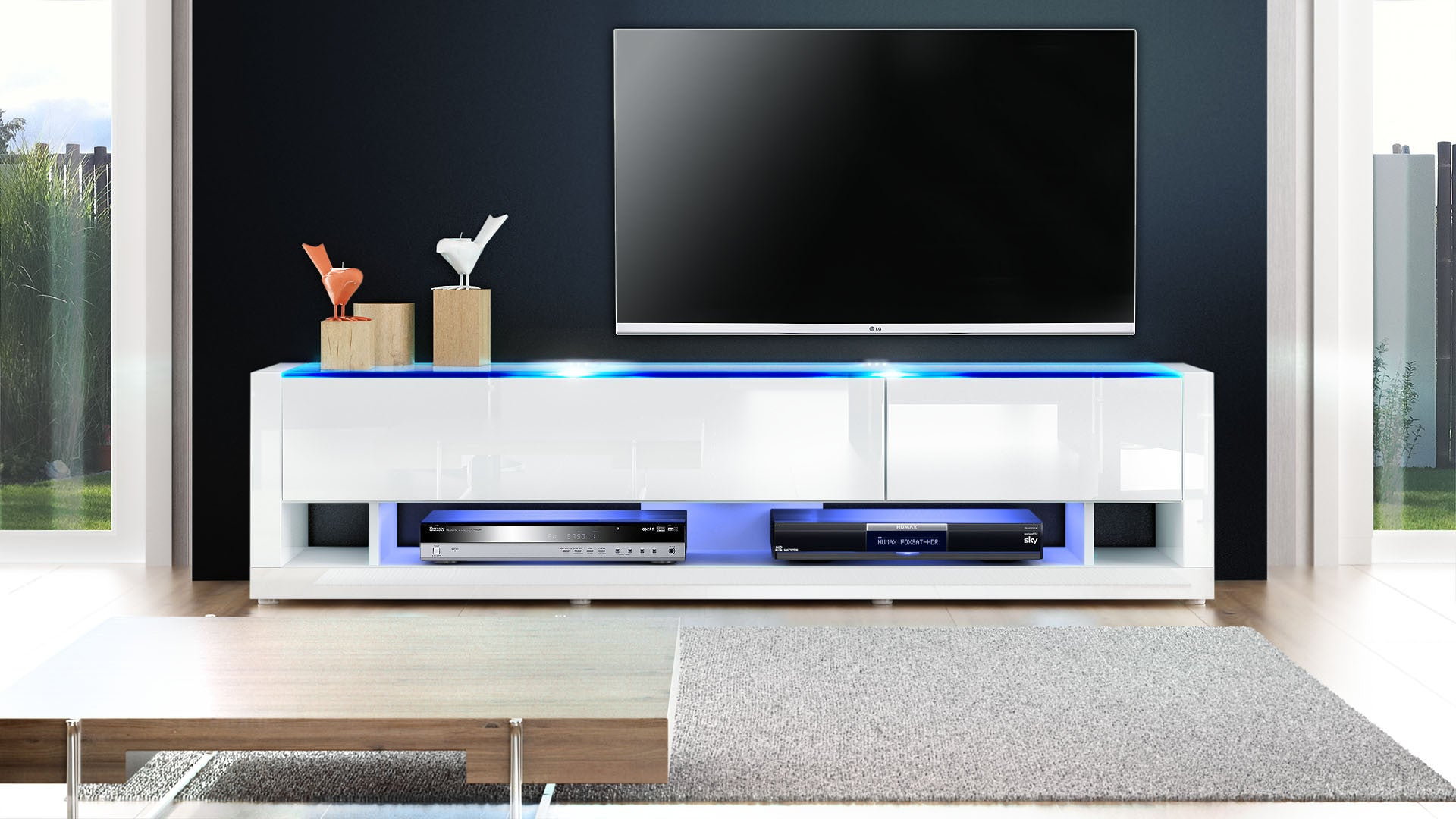 Tv Stand Aurora V6 White High Gloss Various Front Colors  # But Meuble Tv Led