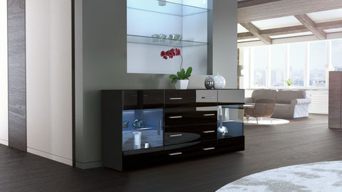 "Sideboard ""Bari V2"" in Black Matt / Black High Gloss"