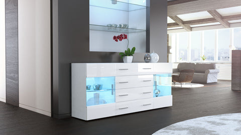 "Sideboard ""Bari V2"" in White Matt / White High Gloss"