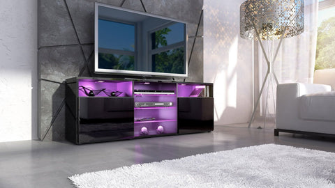 "TV Stand ""Granada""- Black High Gloss / Various Color Fronts"