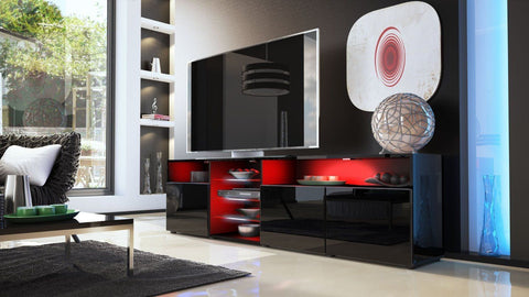 "TV Stand ""Granada V2"" - Black High Gloss /  Various Color Fronts"