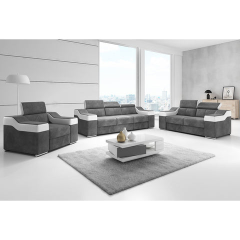 "Sofa Set / Couch Set ""Ewa II"" with Adjustable Head Rest"