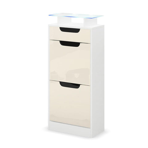 "OPEN BOX - Shoe Cabinet ""Fiesta V2"" in White / Creme / Black High Gloss"