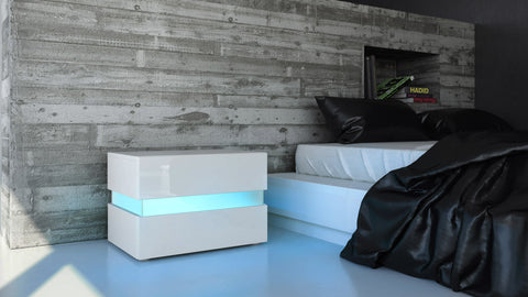 "Nightstand ""Flow"" in White High Gloss"