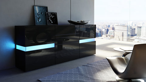 "Sideboard ""Flow"" in Black High Gloss"