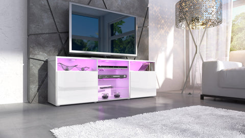 "TV Stand ""Granada""- White High Gloss / Various Color Fronts"