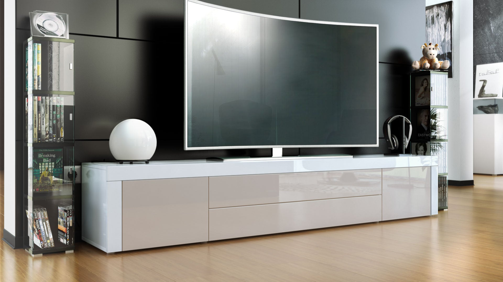 Tv Stand La Paz In White High Gloss Various Colors Josy