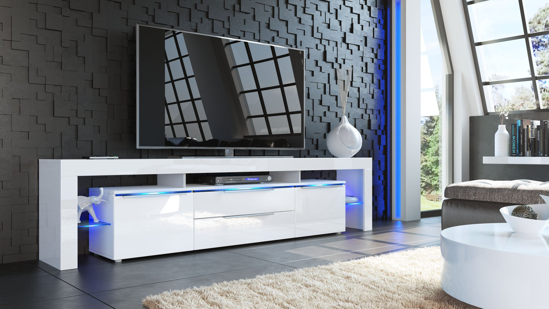 tv stand lima nova v2 white high gloss various color. Black Bedroom Furniture Sets. Home Design Ideas