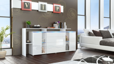 "Sideboard ""Lissabon V2"" in White Matt / White High Gloss"