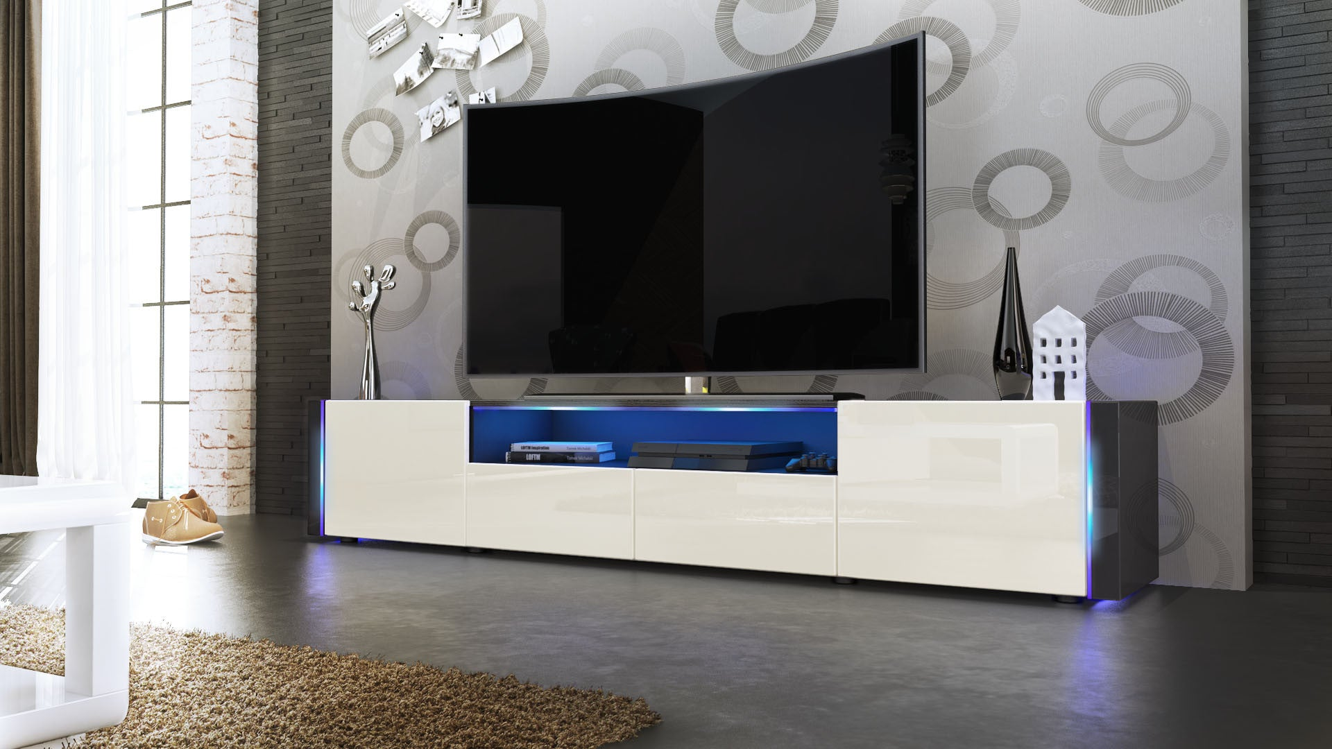 Tv Stand Marino V2 Black High Gloss Various Color Fronts  # Meuble Tv Wenge But