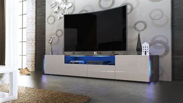 Tv Stand Marino V2 - Black High Gloss / Various Color Fronts