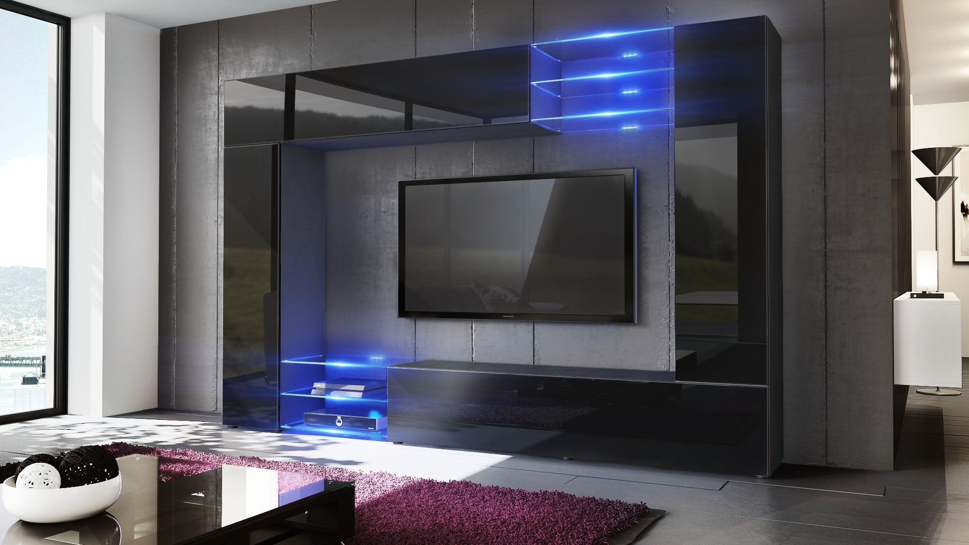 Wall Unit Mirage With Black Body Various Color Fronts