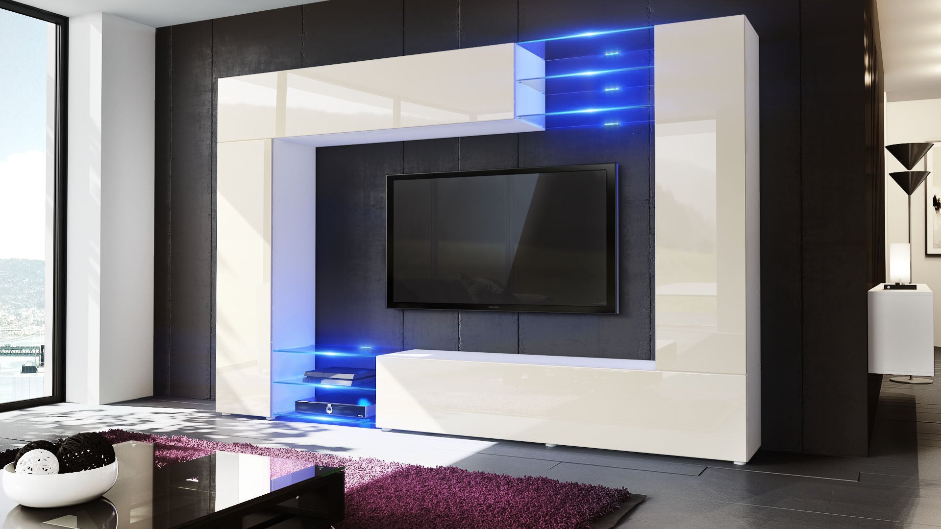 ... Wall Unit Mirage With White Body + Various Front Colors ...