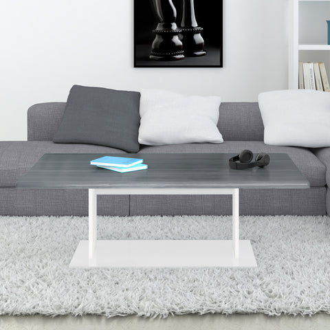 "Open Box - Coffee Table ""Mono"" in White - Grey Woodgrain"