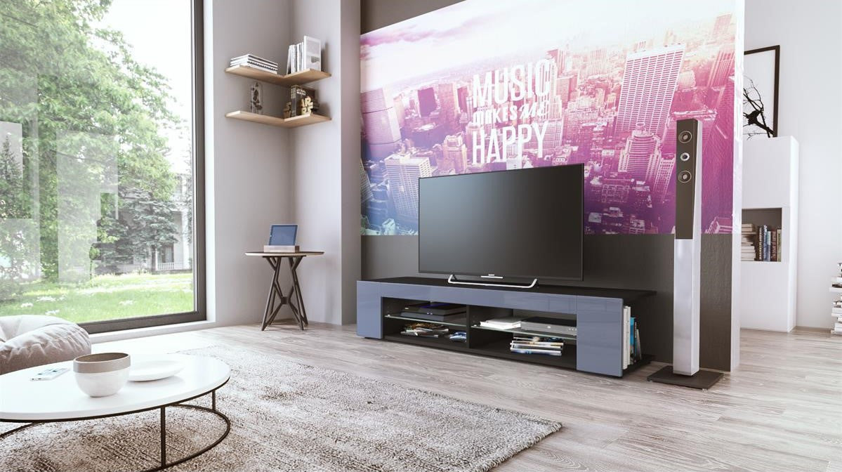 Tv Stand Movie In Black Matt Various Color Fronts Josy Furniture