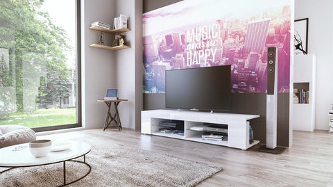"TV Stand ""Movie"" in White Matt / Various Color Fronts"