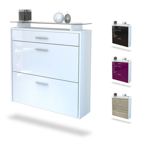 "Shoe Cabinet  ""Malea"" in White Matt / Different Front Colors - Wall Mounted"