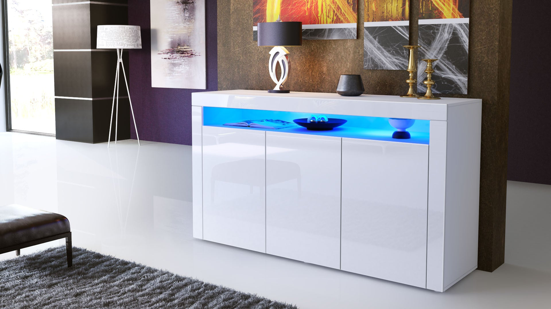 Sideboard valencia white high gloss various color fronts