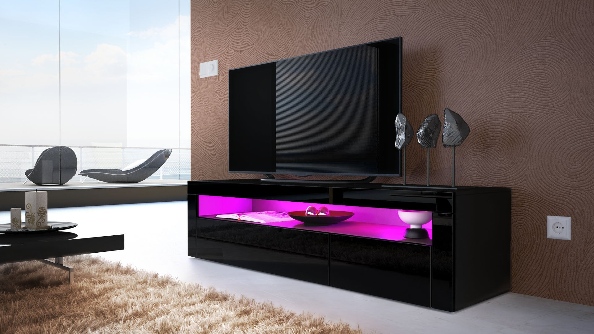 Tv stand valencia black high gloss various front colors