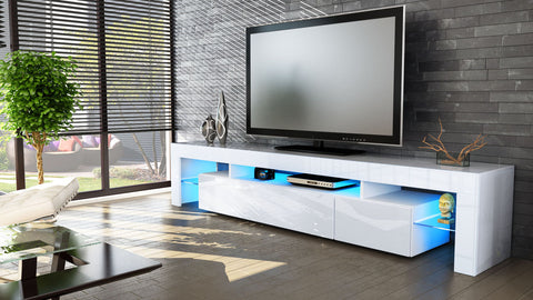 "TV Stand ""Lima V2"" - White High Gloss /  Various Color Front Color"