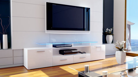 "TV Stand ""Almada V2"" in White / Various Color Fronts"