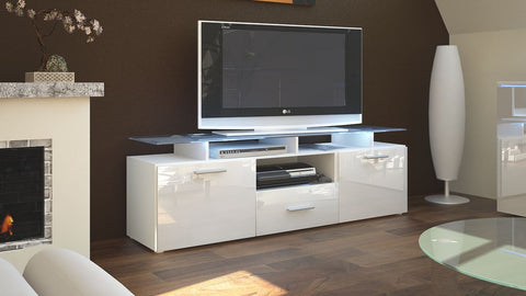"TV Stand ""Almada"" in White / Various Color Front"