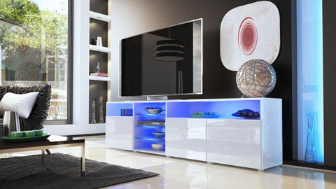"TV Stand ""Granada V2"" - White High Gloss /  Various Color Fronts"