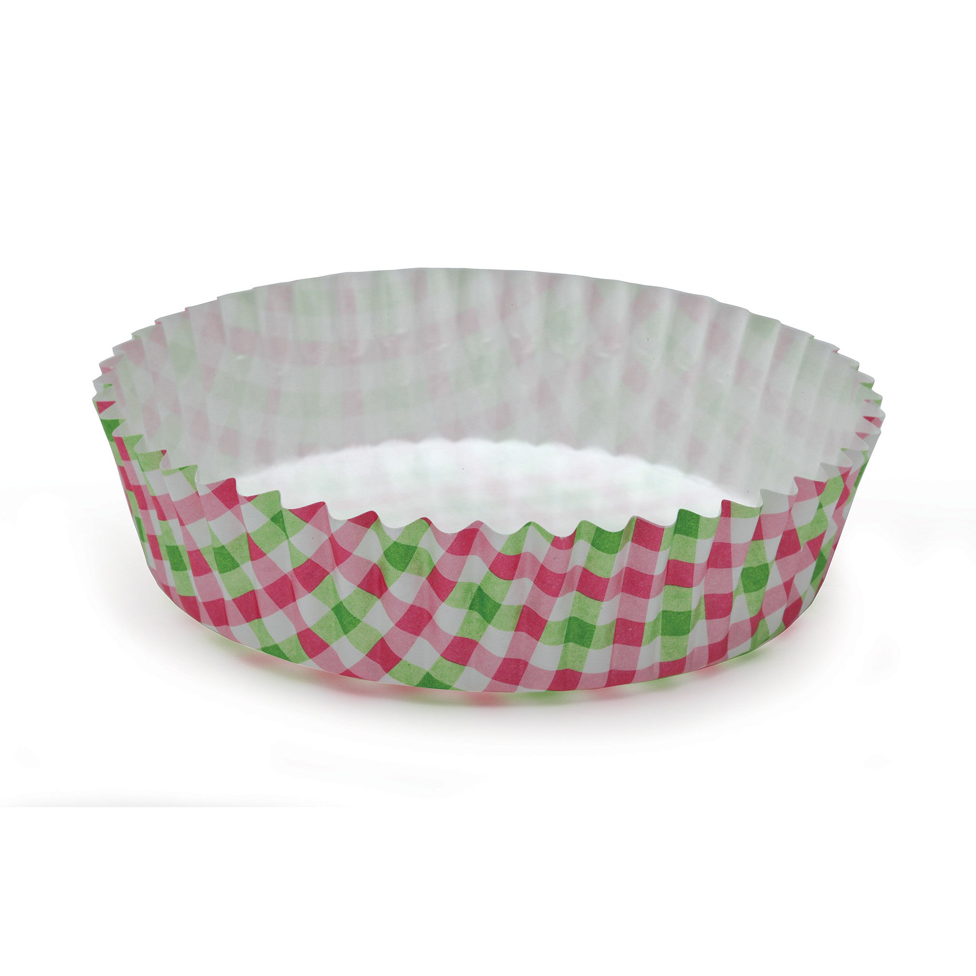 Ruffled Baking Cups, Pink & Green Gingham - Paper Bake Shop