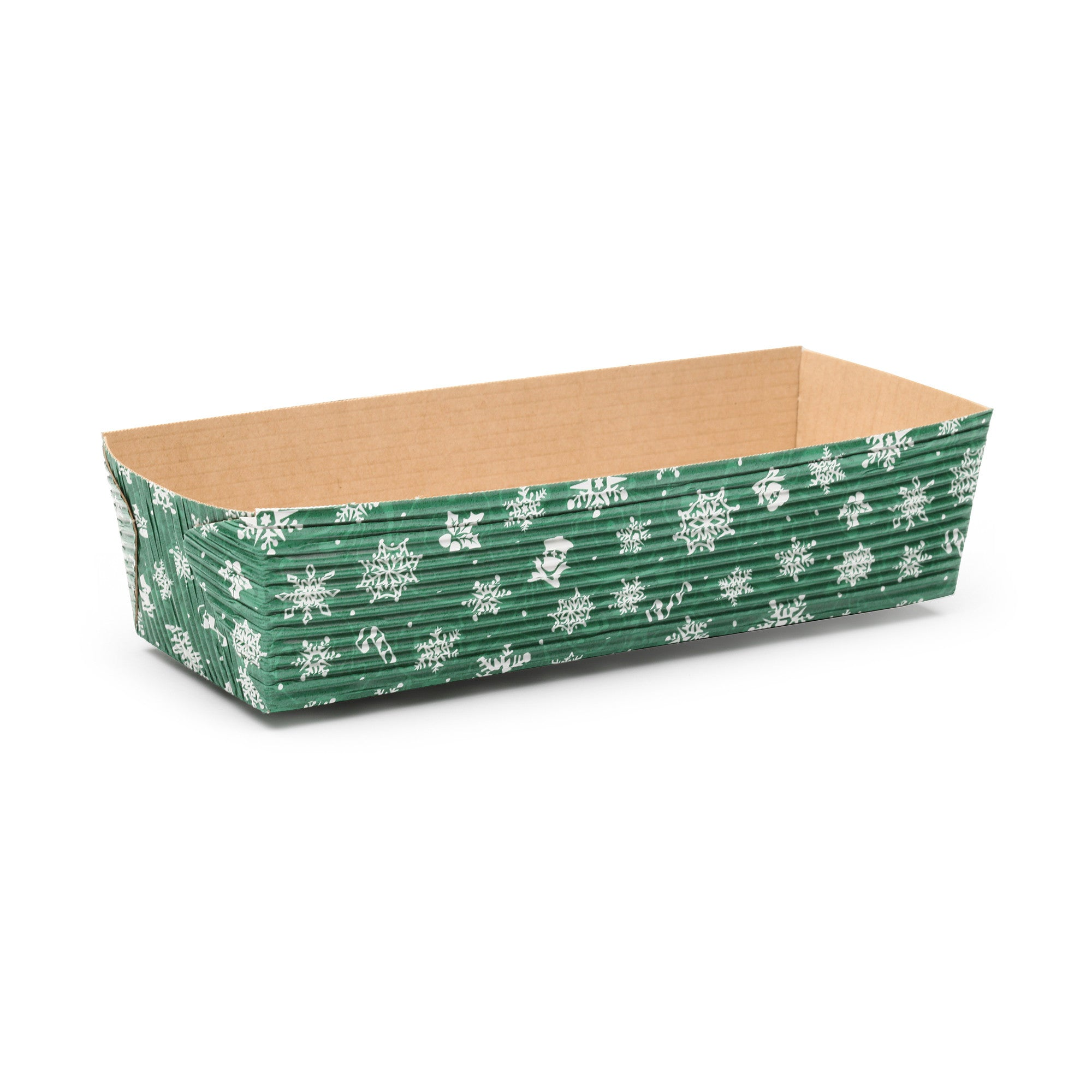 Rectangular Loaf Baking Pans, Green Snowflake - Paper Bake Shop