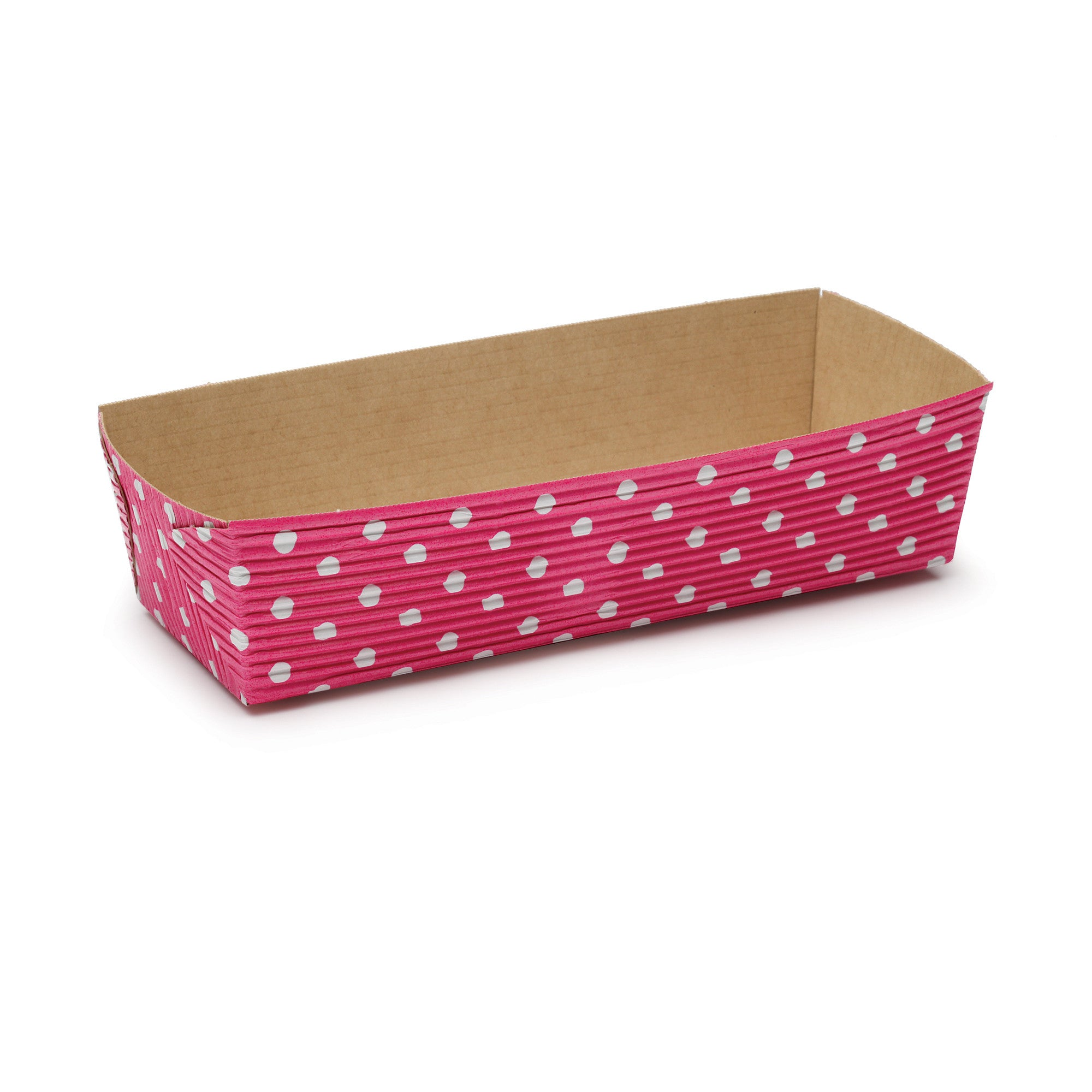 Rectangular Loaf Baking Pans, Pink Dot - Paper Bake Shop
