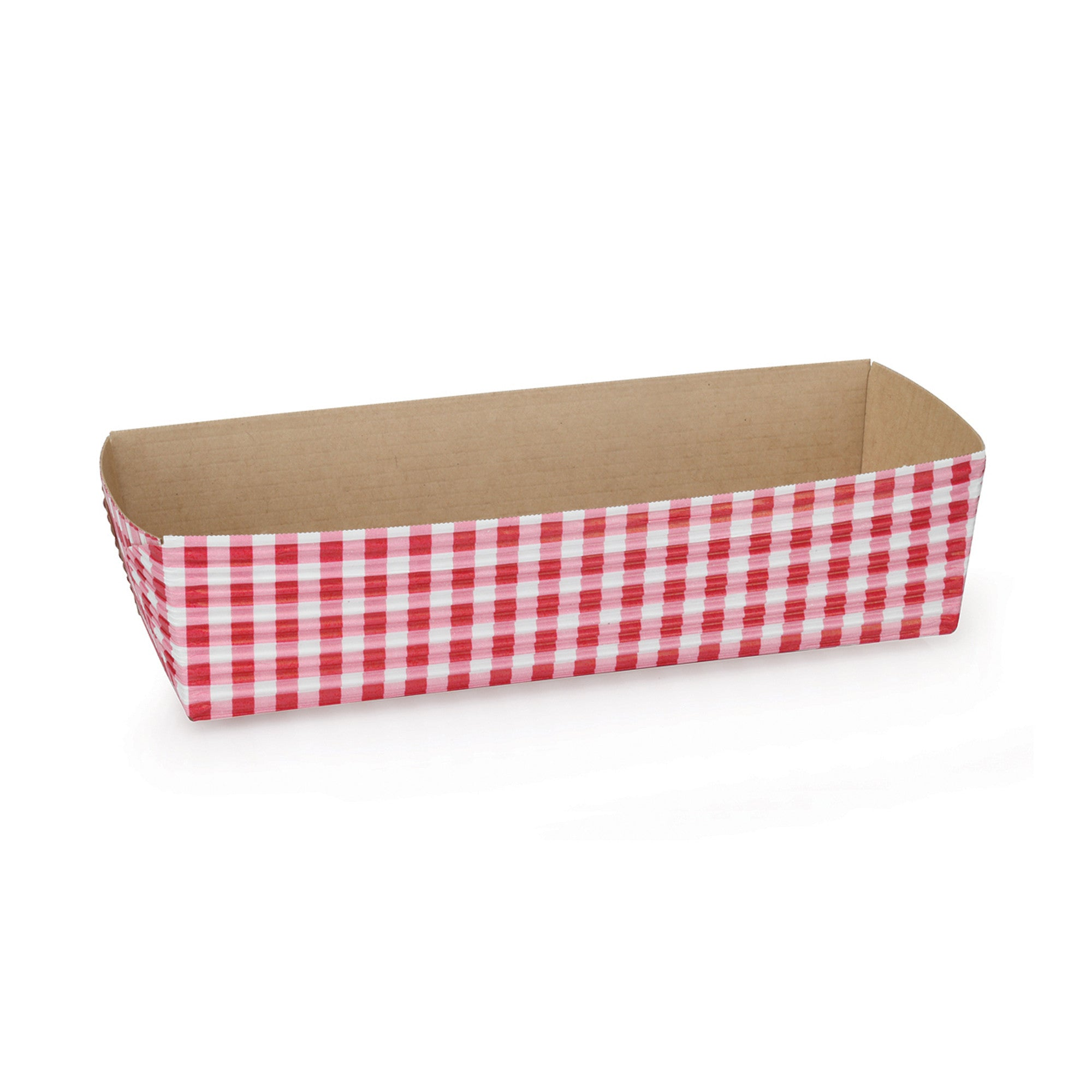 Rectangular Loaf Baking Pans, Red Gingham - Paper Bake Shop