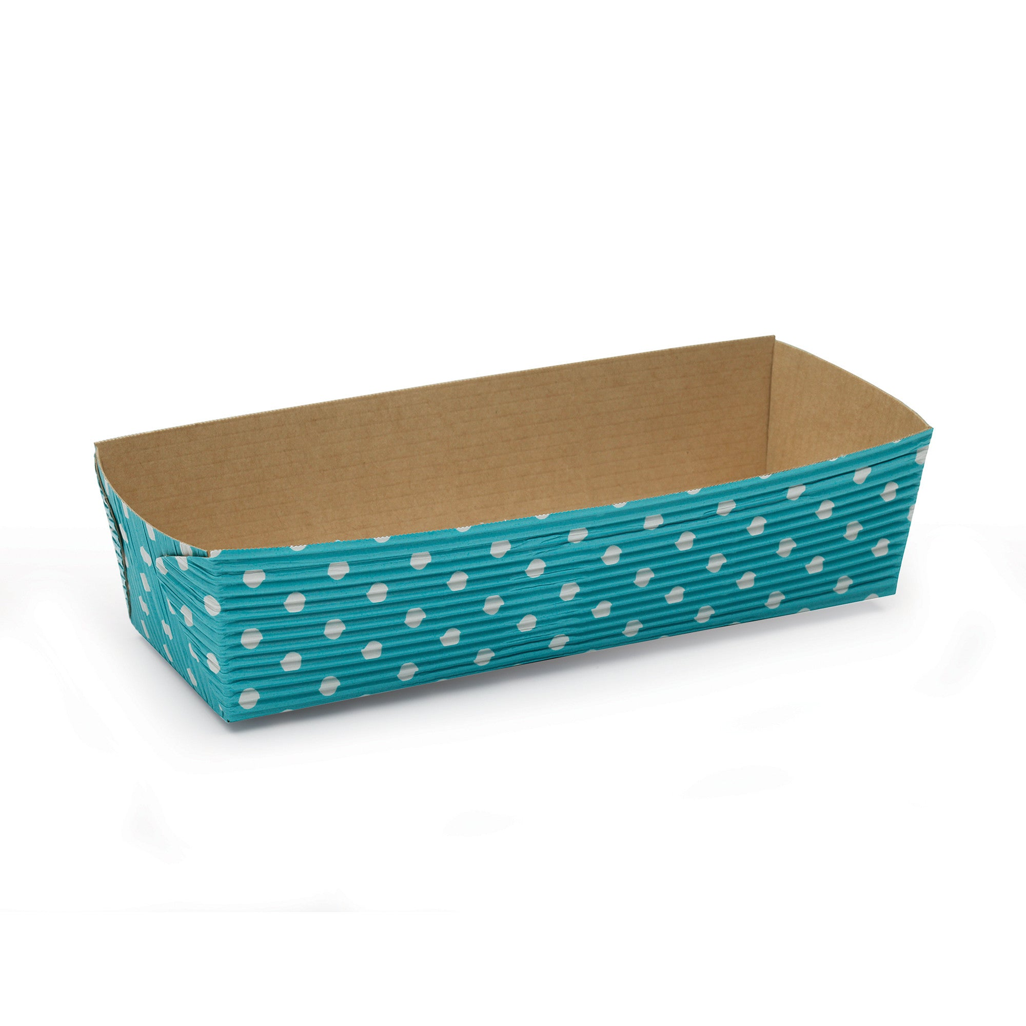 Rectangular Loaf Baking Pans, Turquoise Dot - Paper Bake Shop