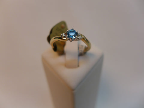 9CT gold Blue Topaz and Diamond Ring