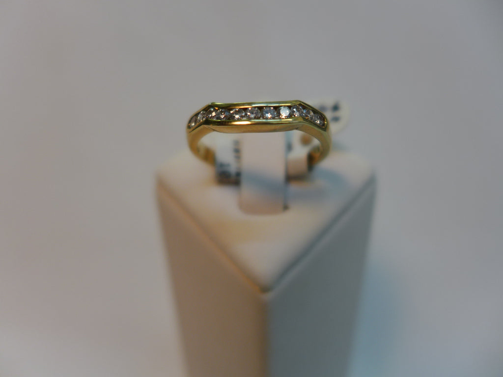 9CT Gold Channel Set Diamond Shaped Ring