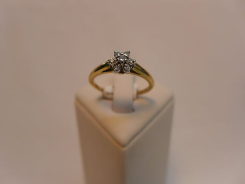 9Ct Gold Flower Diamond Ring