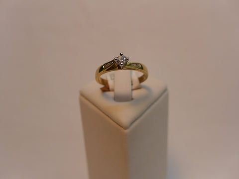 9Ct Gold Solitaire Diamond Ring with Diamond Shanks