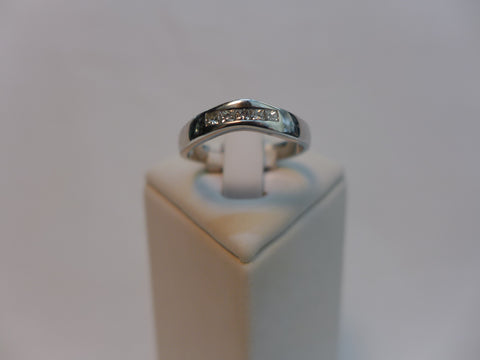 9Ct White Gold Channel Set Shaped Ring