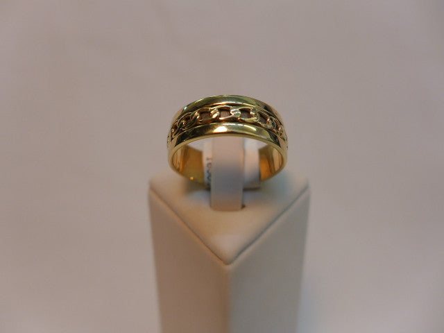 9Ct Gold, Flat Chain Style Band Ring
