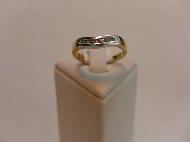 9Ct Bi Tone Gold Channel Set Shaped Band
